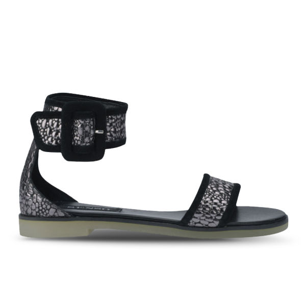 Senso Women's Frankie II Metallic Croc Leather Sandals - Pewter/Black