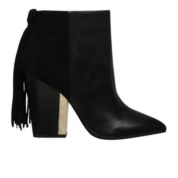 Sam Edelman Women's Mariel Fringed Leather Ankle Boots - Black