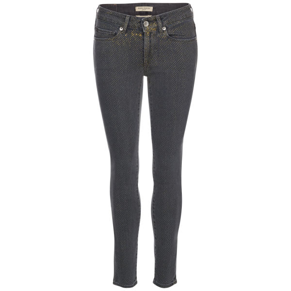 Levi's Made & Crafted Women's Empire Cropped Mid Rise Skinny Jeans - Black/Gold Dots