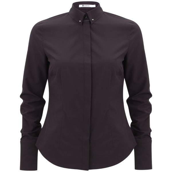 T by Alexander Wang Women's Stretch Fitted Shirt with Collar Pin - Iodine