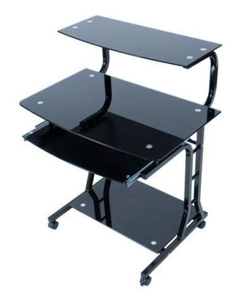 LEVV Black Glass Computer Trolley Desk Computing | TheHut.com