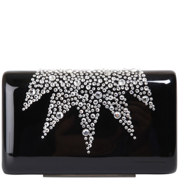 Wilbur & Gussie Exclusive to Harper's Bazaar Groucho Swarovski Crystal Hard Case Clutch - Black/Swarovski Crystal