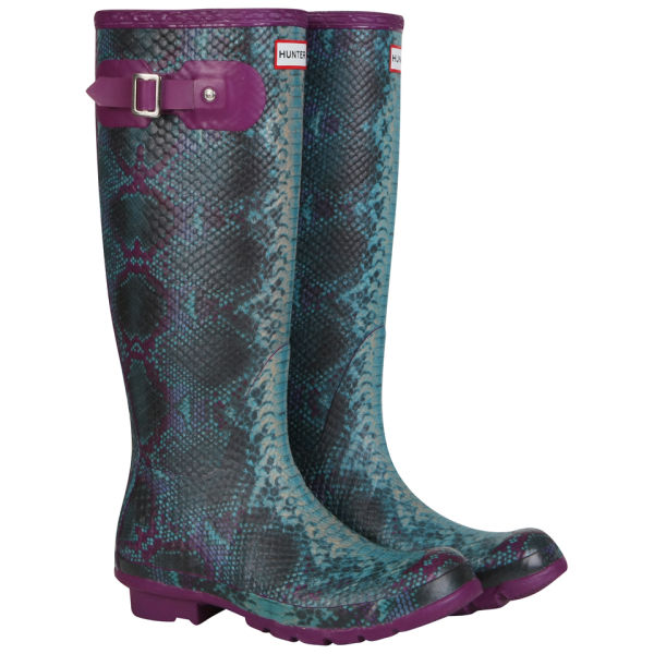Hunter Women's Carnaby Snake Wellington Boots - Purple