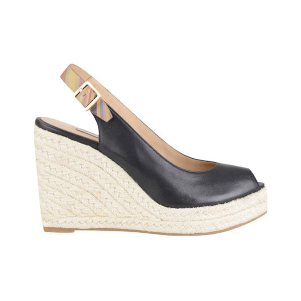 Paul Smith Shoes Women's Beta Leather Wedges - Black Servo Lux/Oak Mini Swirl