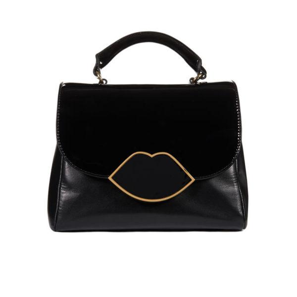 Lulu Guinness Izzy Small Leather Izzy Lips Satchel - Black