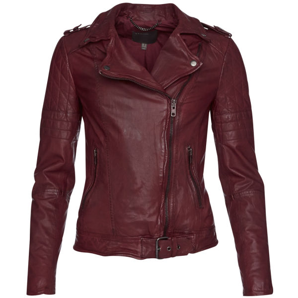 Muubaa Women's Nido Quilted Biker Jacket - Deep Red