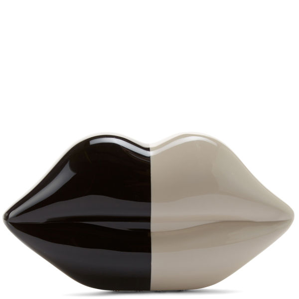 Lulu Guinness Women's 50:50 Lips Perspex Clutch - Black/Stone