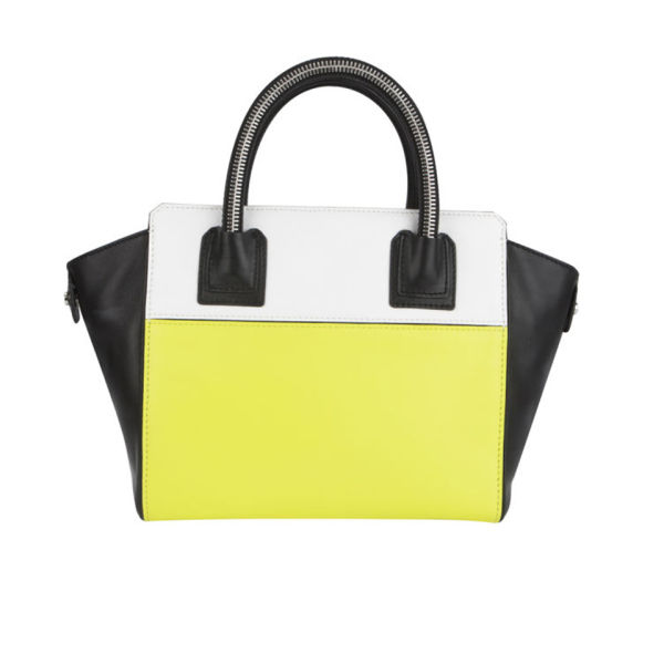 MILLY Logan Collection Small Leather Tote Bag - Limeade