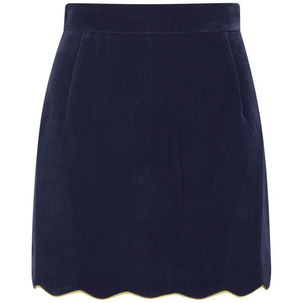 House of Holland Women's Velvet Scallop Mini Skirt - Navy