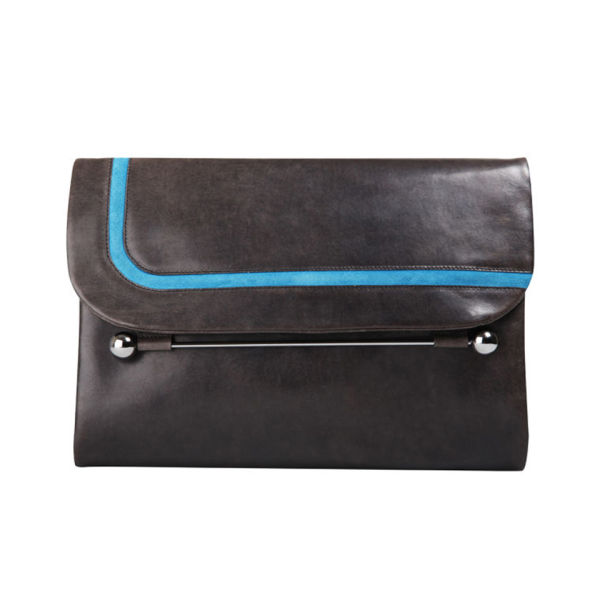 Rupert Sanderson Clio Large Leather Clutch - Grey Wash Calf/Diva Blue Trim