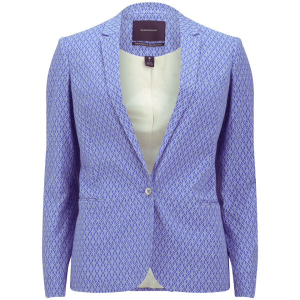 Maison Scotch Women's Jacquard Stretch Blazer - Blue