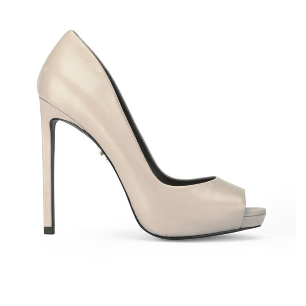 KG Kurt Geiger Women's Eleri Leather Peep Toe Heeled Shoes - Nude