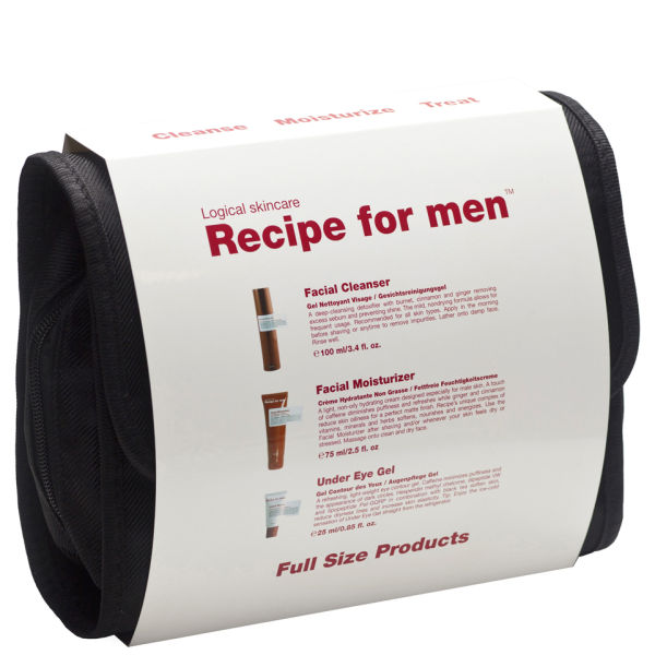 Recipe for Men - Kit Three Way (limpiador facial, crema hidratante, gel contorno de ojos) - Blanco