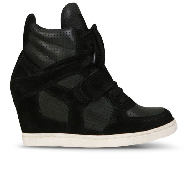 Ash Women's Cool Suede Wedged Hi-Top Trainers - Black