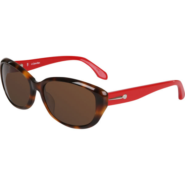 Calvin Klein Oval Sunglasses - Havana/Red