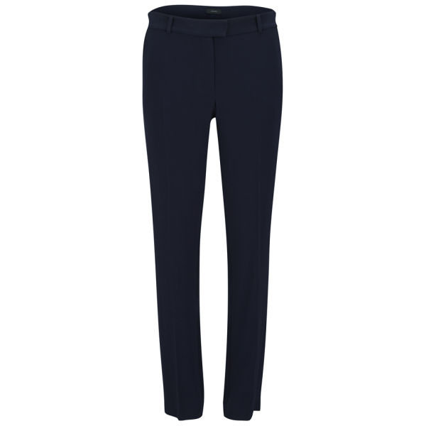 Joseph Women's Ben Crepe Stretch Straight Leg Trousers - Navy