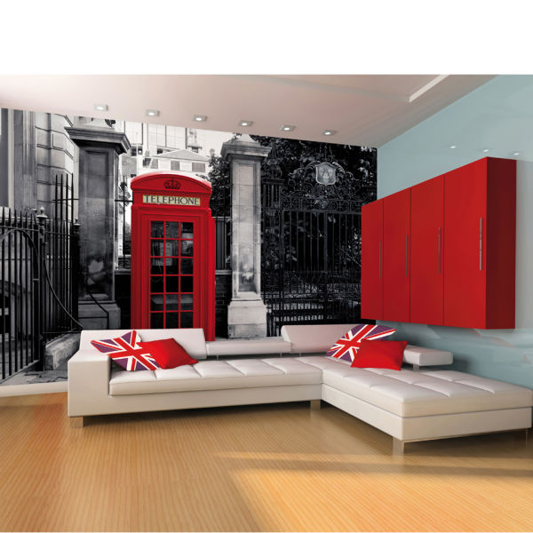 Red british telephone box on a black and white backdrop for Black wall mural