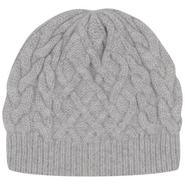 Johnstons of Elgin Cable Knit Cashmere Beanie Hat - Silver/Grey