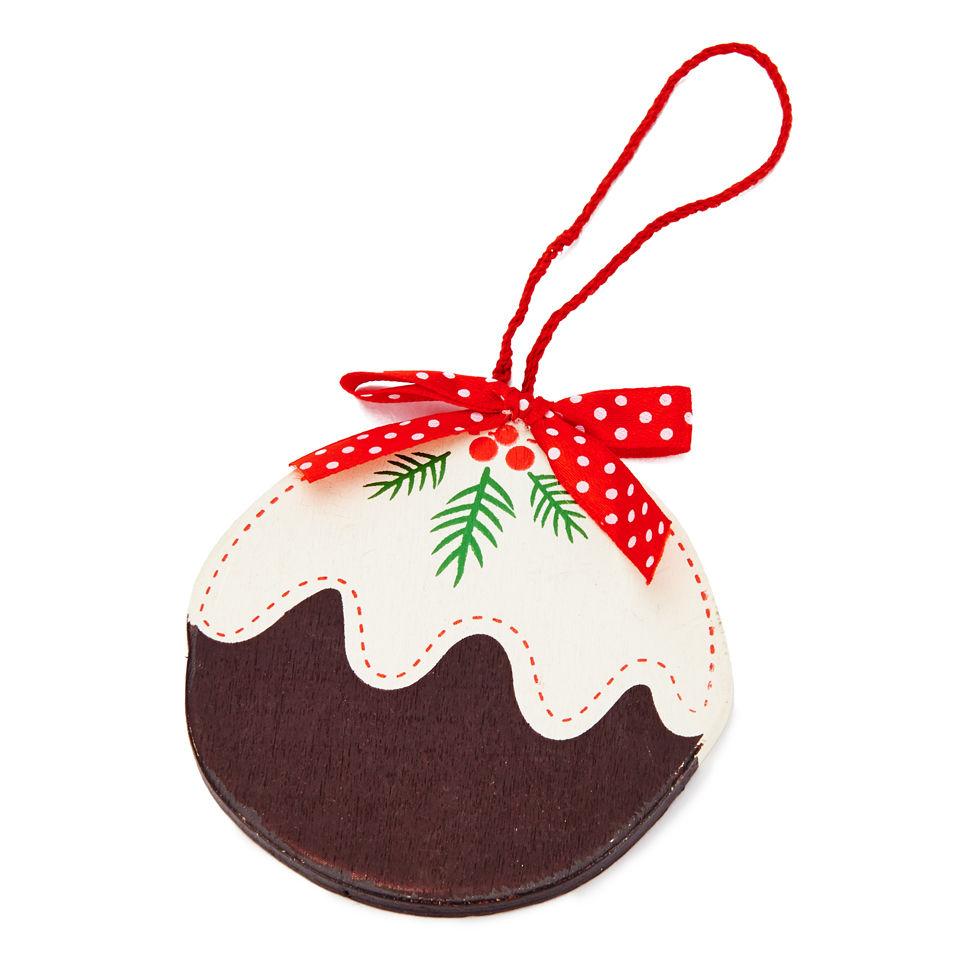 Gisela Graham Flat Wood Christmas Pudding Decoration Large 9cm Homeware TheHutcom