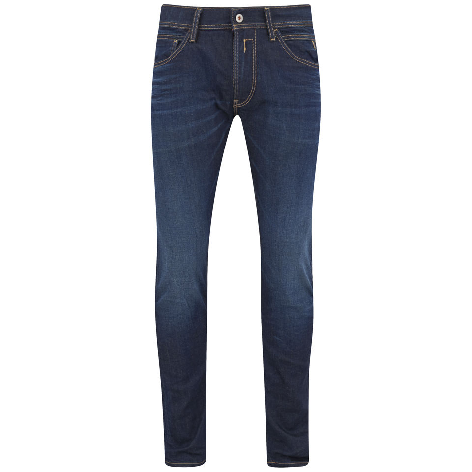 REPLAY Mens Indigo Super Stretch Skinny Jeans Dark Wash Mens