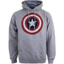 Marvel Men's Captain America Sheild Hoody - Light Grey Marl
