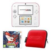 Nintendo 2DS Console (White & Red): Bundle includes Pokémon Y + Red Nintendo 2DS Case