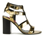 HUGO Women's Malena-M Buckle Strap Heeled Leather Sandals - Gold
