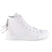 Converse Women's Chuck Taylor All Star Leather Tri-Zip Hi-Top Trainers- White
