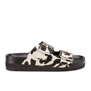Senso Women's Ida VI Double Strap Leopard Pony Sandals - Chalk