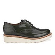 Grenson Women's Emily V Patent Leather Platform Brogues - Steel