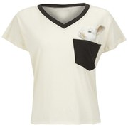 Wildfox Women's Romeo V Neck Pocket Bun T-Shirt - Vintage Lace/Dirty Black