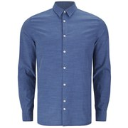 J.Lindeberg Men's Dani Indigo Cotton Long Sleeve Shirt - Washed Indigo