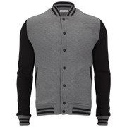 J.Lindeberg Men's Richie Quilted Jersey Bomber Jacket - Mid Grey Marl
