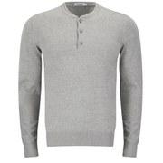 J.Lindeberg Men's Henri China-Collar Knitted Jumper - Light Grey Melange