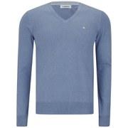 J.Lindeberg Men's Melvin Fine-Cotton V-Neck Knitted Jumper - Blue Melange