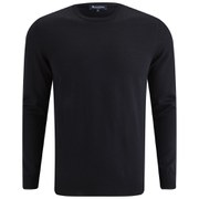 Aquascutum Men's Rofle Crew Neck Knit with Check Shoulder Patch - Navy