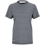 Victoria Beckham Women's Cap Sleeve T-Shirt - Navy/White Stripe