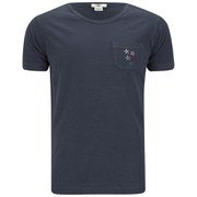 YMC Men's Flower Embroidered Cotton Slub Jersey T-Shirt - Navy