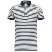 French Connection Men's Bleached Simple Stripe Polo Shirt - White