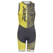 Zoot Performance Tri Team Racesuit - Pewter/Yellow
