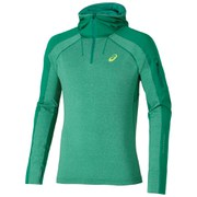 Asics Men's Hooded Long Sleeve Running Top - Jungle Green Heather