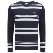 Lacoste Men's 'Made In France' Stripe Sweater - Navy Blue