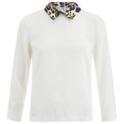 Vero Moda Women's Medine Contrast Collar Top - White