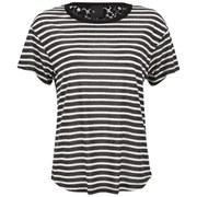 Six Ames Women's Raw Stripe Lace Back T-Shirt - Black