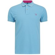 GANT Men's Contrast Collar Pique Polo Shirt - Turquoise