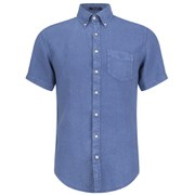 GANT Men's Linen Short Sleeve Shirt - Blue
