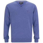 GANT Men's Cotton V-Neck Knitted Jumper - Blue