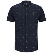 Lyle & Scott Men's Short Sleeve Micro Split Square Shirt - New Navy