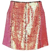 Markus Lupfer Women's Holographic Sequin Ashley Zip Skirt - Pink