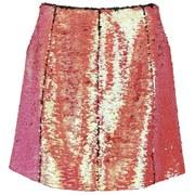 Markus Lupfer Women's Holographic Sequin Ashley Zip Skirt - Pink